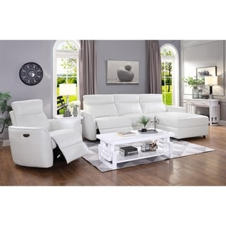 "Strick & Bolton Artani Ivory Faux-leather Power Recliner Sectional - 114"" x 70"" x 39"""