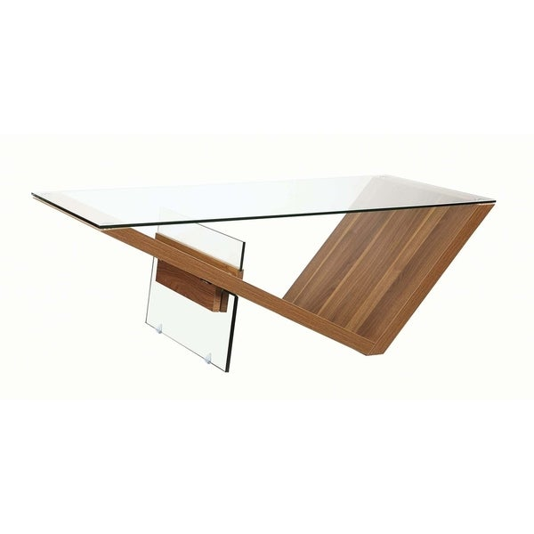 "Carbon Loft Baer Clear and Light Walnut Rectangular Coffee Table - 47.25"" x 23.25"" x 16.50"""