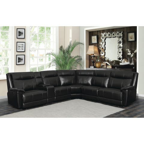 "Cullen Bonded Leather Power Motion Sectional, Black - 134"" x 122"" x 40.50"""