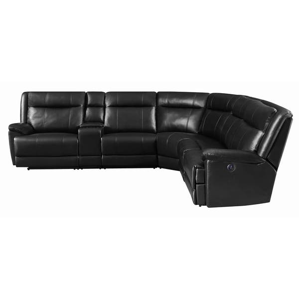 Amazing Shop Cullen Bonded Leather Power Motion Sectional Black Creativecarmelina Interior Chair Design Creativecarmelinacom