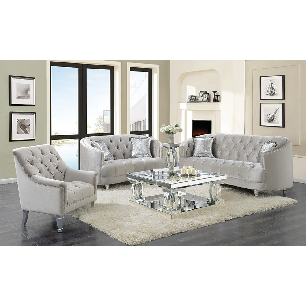 Silver Orchid O\'Fredericks Grey 2-piece Tufted Living Room Set