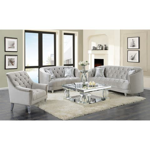 Silver Orchid O'Fredericks Grey 2-piece Tufted Living Room Set