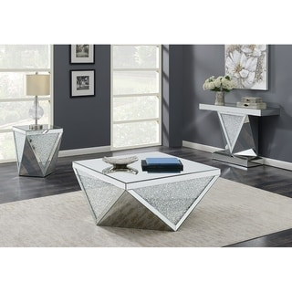 Silver and Mirror Square Coffee Table with Triangle Detailing