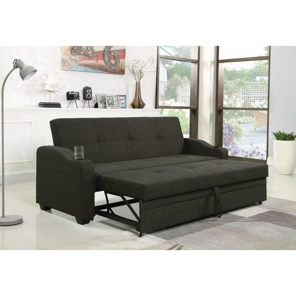 Shop Charcoal Grey Upholstered Sleeper Sofa Bed
