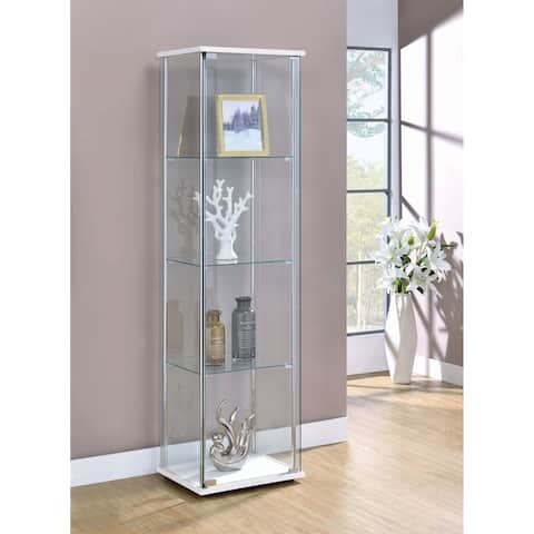 "White and Clear 4-shelf Curio Cabinet - 16.75"" x 14.25"" x 63.75"""
