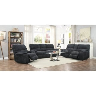 Perry Navy Blue 3-piece Upholstered Living Room Set