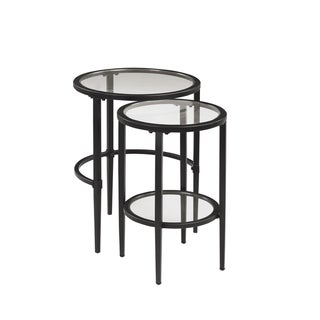 Copper Grove Charleroi Black and Clear 2-piece Nesting Table Set