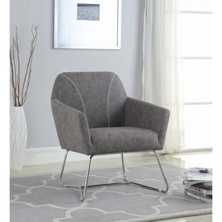 Shop Charcoal Grey Leather Look Accent Chair And Ottoman