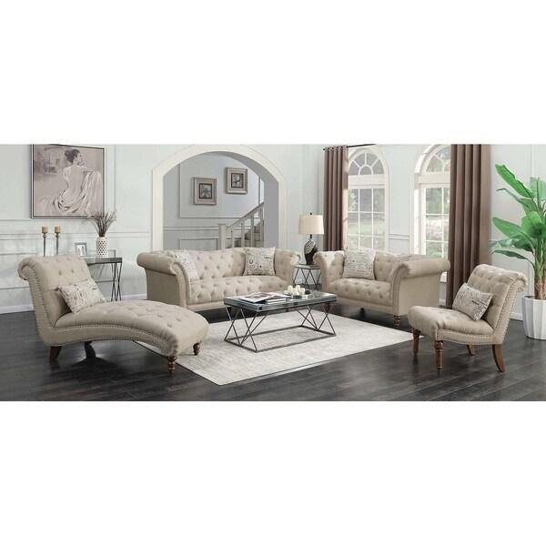Copper Grove Smorgon Beige 3-piece Tufted Living Room Set