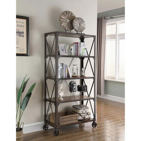 """Carbon Loft Wilson Tobacco and Weathered Gunmetal 4-tier Bookcase - 36"""" x 16"""" x 72"""""""