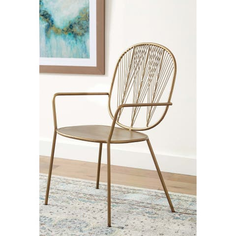 Brass Open Back Accent Chairs (Set of 2)