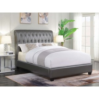 Siesta Metallic Charcoal Tufted Upholstered Bed