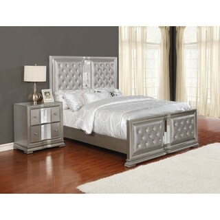 Adele Metallic Platinum Tufted Upholstered Bed