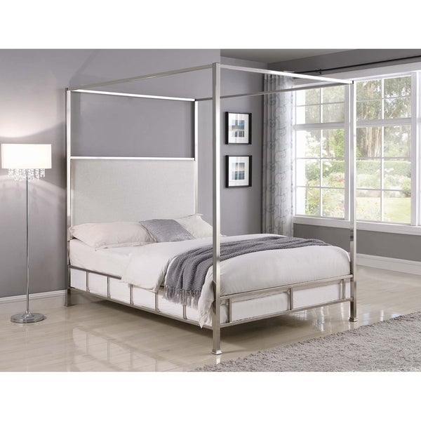 e6b54b07f0f5 Shop Claire Ivory and Chrome Upholstered Canopy Bed - On Sale - Free ...
