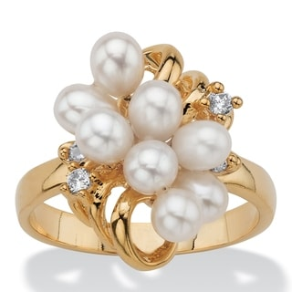 Yellow Gold Plated Cultured Freshwater Pearl And Crystal Cluster Ring