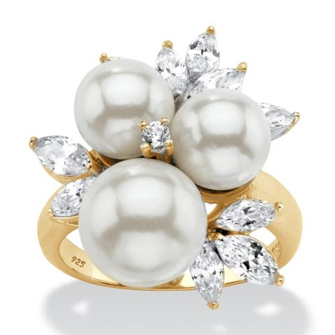 Yellow Gold over Sterling Silver Pearl and Cubic Zirconia Ring