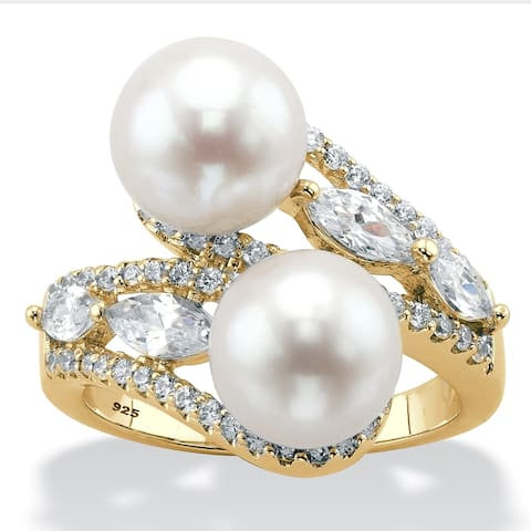 Gold over Sterling Silver Pearl and Marquise Cubic Zirconia Ring