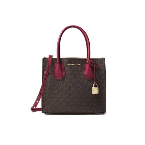 5f21b9ca537a Shop Michael Kors Mercer Logo Crossbody - Brown Mulbry - 30T7GM9M8V-243 -  Free Shipping Today - Overstock.com - 25860489
