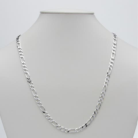 Sterling Silver Figaro-Link Chain Necklace (5.5mm), 24""