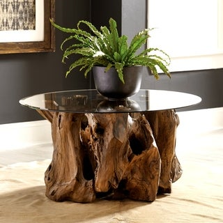 Genuine Teak Root Coffee Table with Tempered Glass Top
