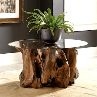 34af38b2fc5fe Shop Genuine Teak Root Coffee Table with Tempered Glass Top - Free ...