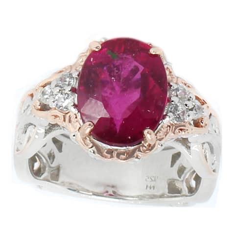 Michael Valitutti Palladium Silver Rubelite & White Zircon Ring