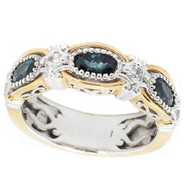 dfc97e6d1d7050 Michael Valitutti Palladium Silver Indicolite & White Zircon 7-Stone Band  Ring