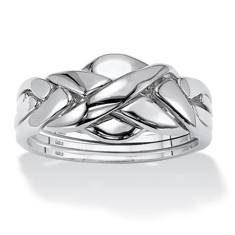 Platinum over Sterling Puzzle Silver Ring