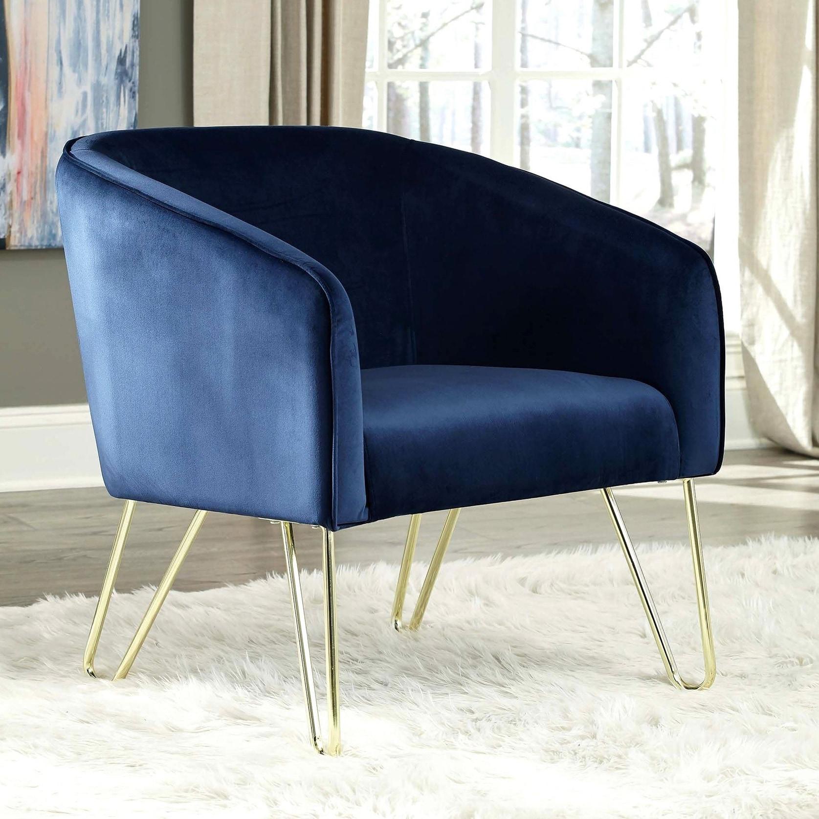 Modern Design Blue Velvet Living Room Accent Chair With Brass Hairpin Legs