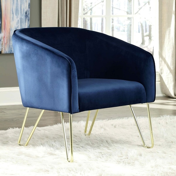 Shop Modern Design Blue Velvet Living Room Accent Chair With Brass