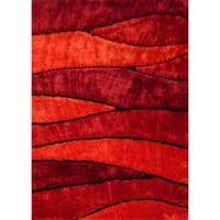 Abstract Red Contemporary 5x7 Area Rug - 5' x 7'