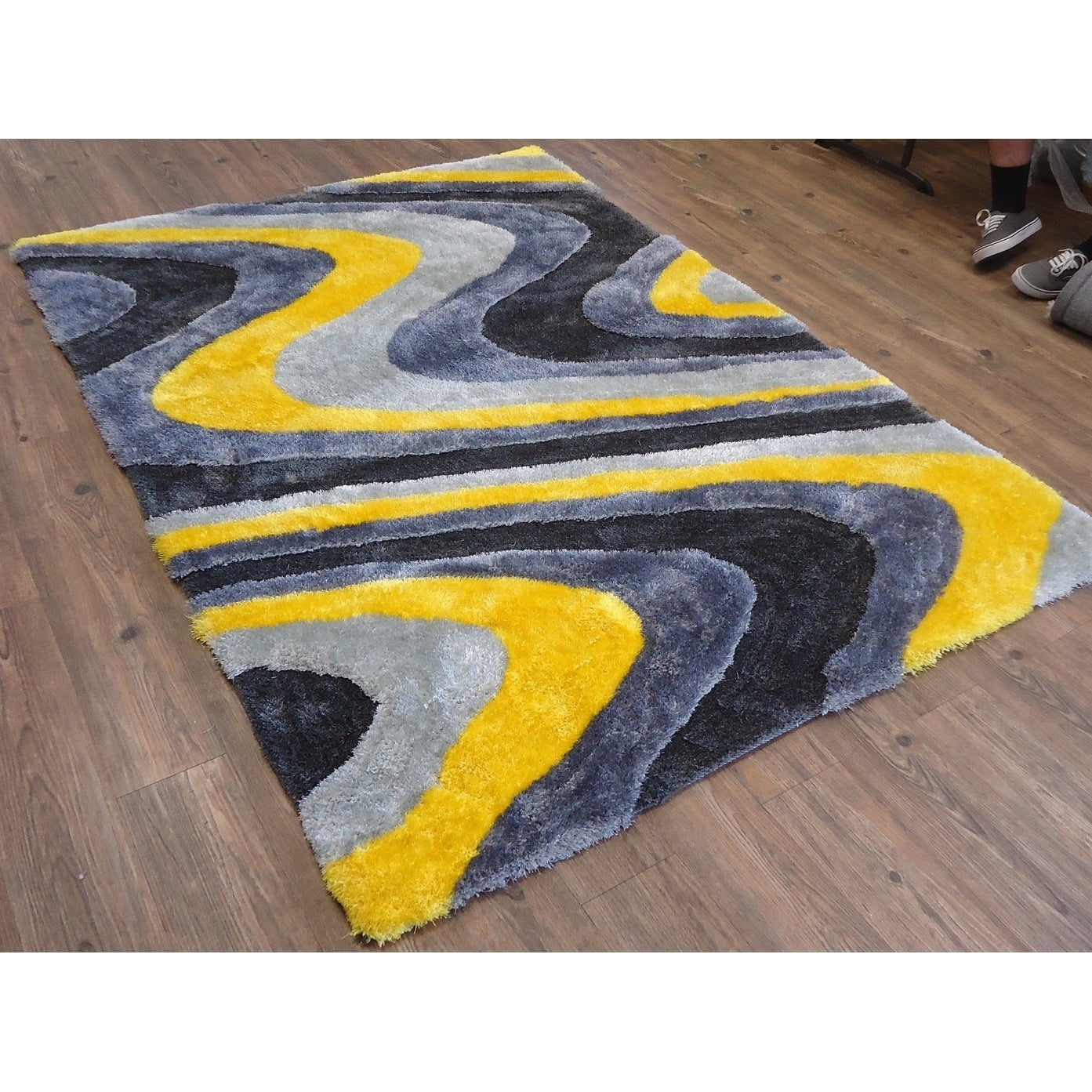 Shop Contemporary 5x7 Area Rug Gray Yellow 5 X 7 Overstock 25860662