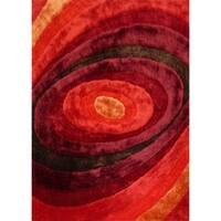 Red Contemporary 5x7 Area Rug - 5' x 7'