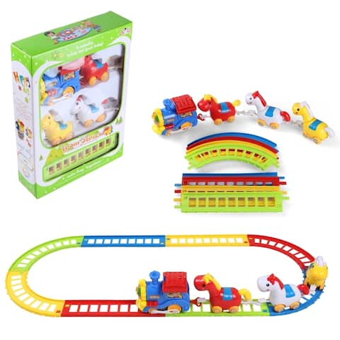 12 Pieces Animal Friends Toy Train Detachable Track Building Play Set