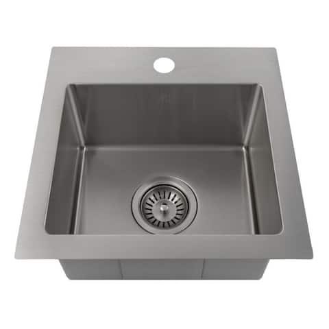 ZLINE 15 inch Topmount Single Bowl Bar Sink in Stainless Steel