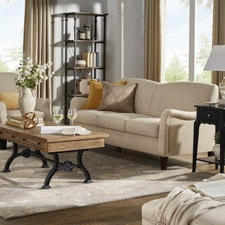Tilda Beige Channel Back Sofa with English Arms by iNSPIRE Q Classic