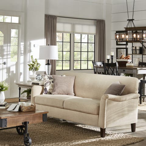 Copper Grove Nantes Beige Tight-back Sofa with English Arms