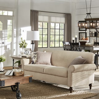 Tilda Beige Tight Back Sofa with Rolled Arms by iNSPIRE Q Classic
