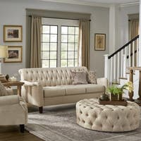 Tilda Beige Tufted Back Sofa with English Arms by iNSPIRE Q Classic