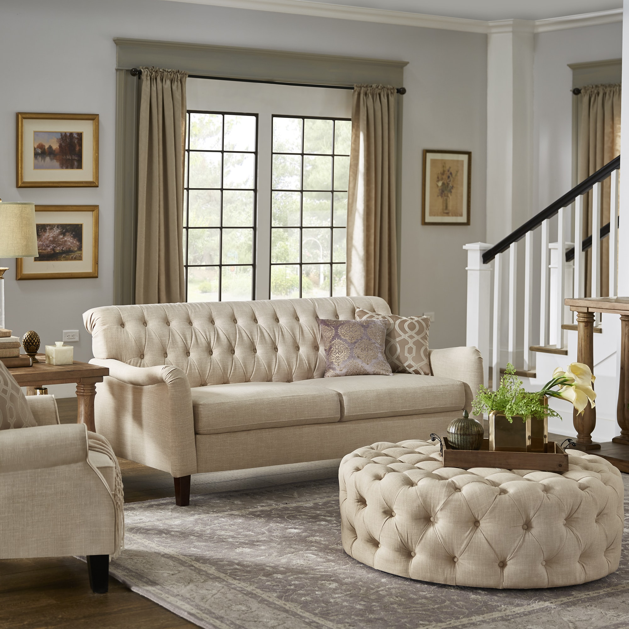 shop copper grove strasbourg beige tufted back sofa with english rh overstock com gray beige tufted sofa light beige tufted sofa