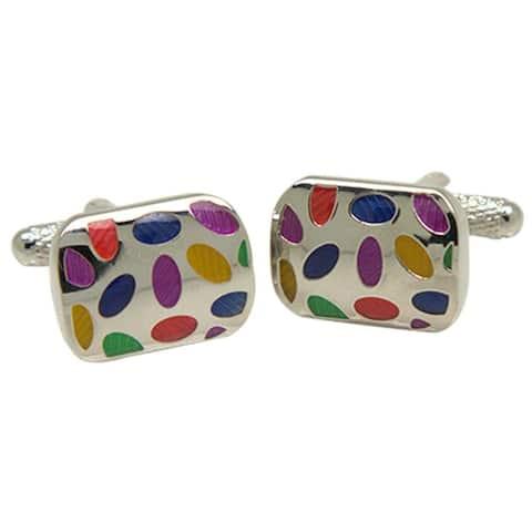 Ferrecci Mens Silvertone Multicolor Cufflinks