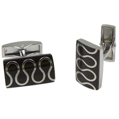Ferrecci Mens Silvertone Black Geometric Cufflinks