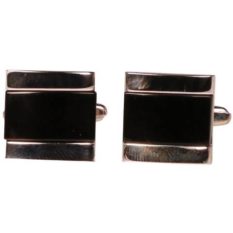 Ferrecci Mens Silvertone Black Gemstone Cufflinks