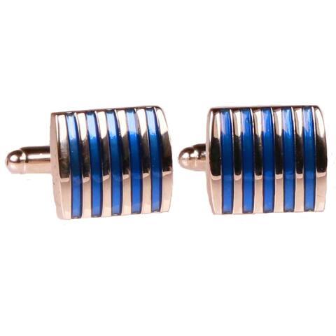 Ferrecci Mens Silvertone Square Blue StripesCufflinks