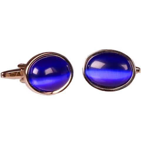 Ferrecci Mens Silvertone Circle Blue Gemstone Cufflinks