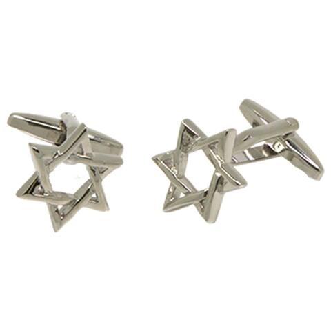 Ferrecci Mens Silvertone Novely Jewish Star Cufflinks