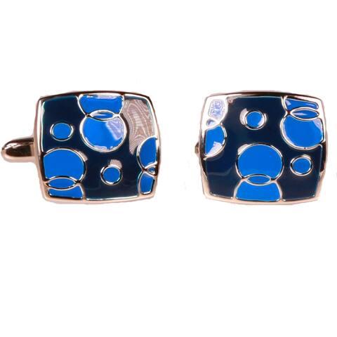 Ferrecci Mens Silvertone Square Blue Bubbles Cufflinks