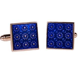 Ferrecci Mens Silvertone Square Blue Geometric Cufflinks