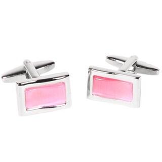 Ferrecci Mens Silvertone Rectangle Pink Gemstone Cufflinks