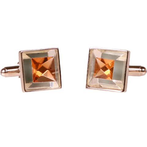 Ferrecci Mens Silvertone Square Gold Gemstone Cufflinks
